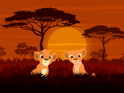 Lion king savanna savanna flat design flat vector designer designs lion king lion design illustration