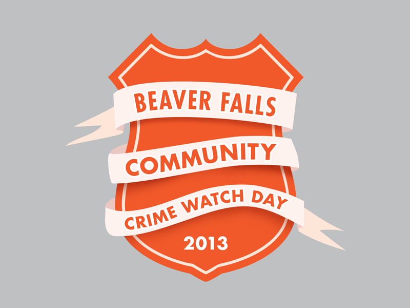 Beaver Falls Community Crime Watch Day futura shield badge orange