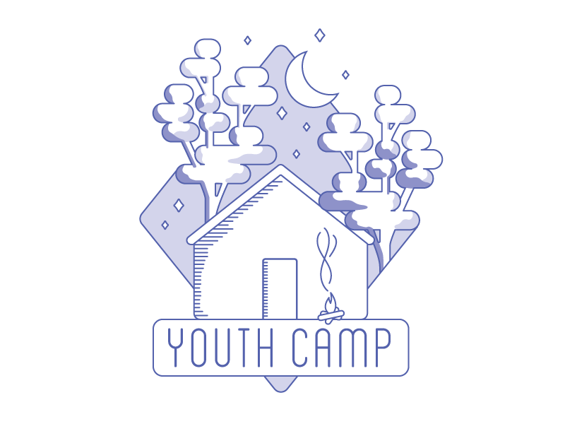 Youth Camp Illustration/Logo wip line simplified tree gum eucalyptus blanch camp youth australia