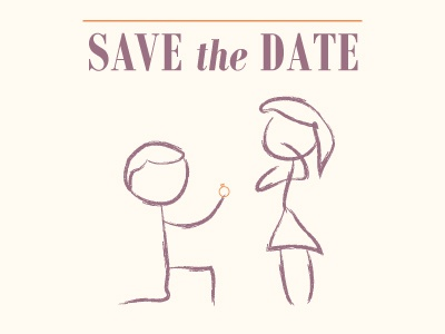 Save The Date illustration weddings bodoni stick figures