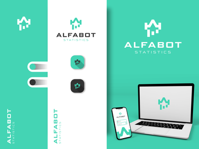 ALFABOT logotype inspiration simple design creative design logos logosai modern logo for sale awesome logo icon typography minimalist vector logo design branding adobe photoshop technology statistics robotic