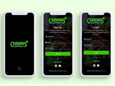 Carrows Restaurants Login and Sign Up uxdesign productdesign splash screen signup login screen product design landing page design ui design uiux uidesign minimal