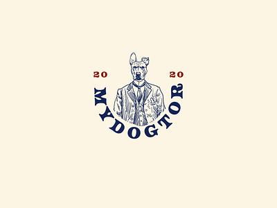 Logo concept of MYDOGTOR logo pet animal icon drawing vintage vector illustration hand drawn design dog