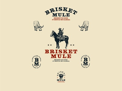 Logo concept for brisket mule food meat brisket cowboy logo farmer farm icon drawing vintage vector illustration hand drawn design