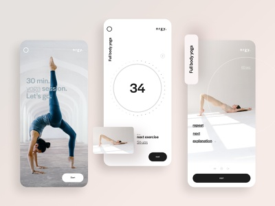 UI design for a sport and meditation app 🏃🏽‍♀️ design app designer uidesigner uidesignpatterns sportapp visual design uiux uidesign graphicdesign typography ux colors app ui design