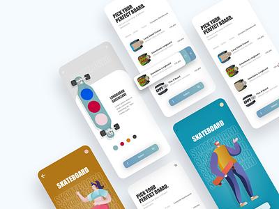 skate shop app design 👩🏽💻 uiuxdesigner shopdesign onlineshop uidesigners minimal illustration uidesigner uiux ux graphicdesign colors ui design
