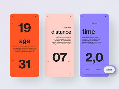 Dating app design - filter screens minimal uiux visual design uidesigner typography graphicdesign colors ui app design