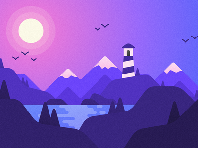 Lakeside vector illustration landscape