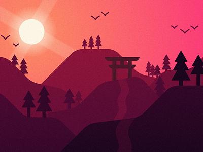 Torii minimal design vector landscape