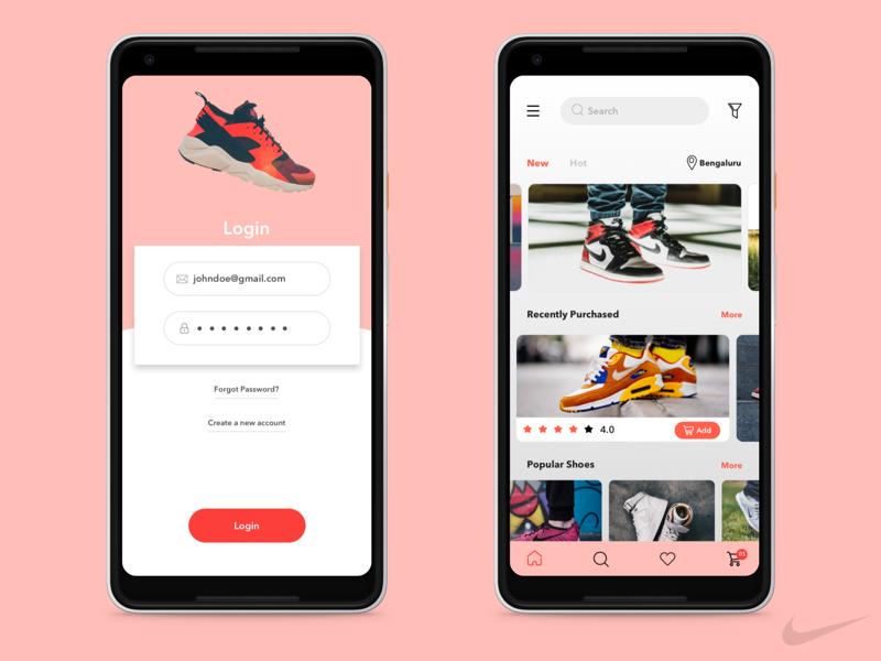 Nike Shoes App Concept mobile app interface design weekly design practice shoes app nike concept ui design