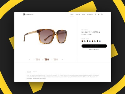 VonZipper Redesign shopping product pdp minimal clean ui