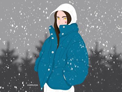 Winter is coming❄️ winter girl new year logo minimal illustration flat branding illustrator illustraion digitalart digital design artwork art 2d