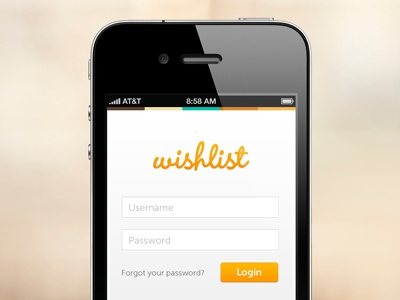 Wishlist login for mobile mobile iphone wendy button login form fields