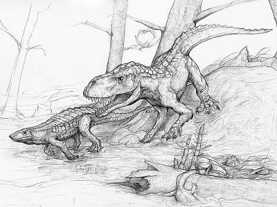 Triassic Creatures illustration pencil sketch