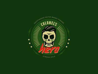 Colonel's Hero Pomade green military package design packaging vector branding design illustration
