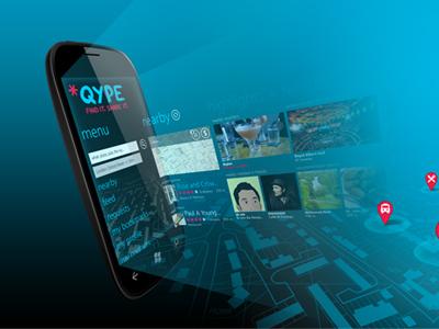 App Launch - Windows Phone 7 qype windows windows phone launch light beam map pins mobile
