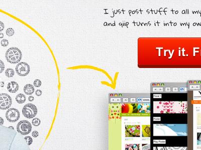 qiip.me qiip button texture splash page