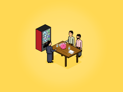 At the canteen discussing Dribbble dribbble qiipme qiip pixel people