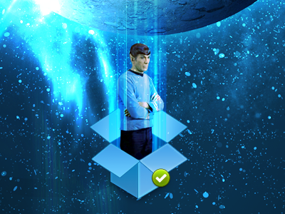 Spock is not impressed at being synced to Dropbox dropbox spock logo