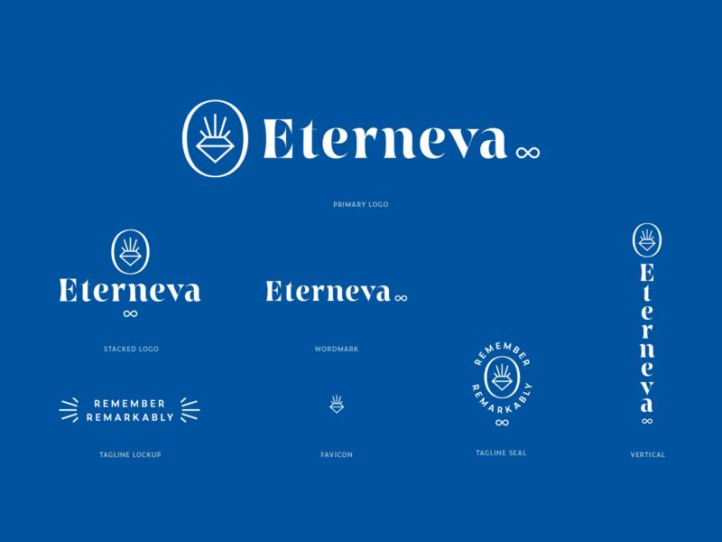 Eterneva Logo System and Illustrations monoline startup branding visual identity vector illustration logo