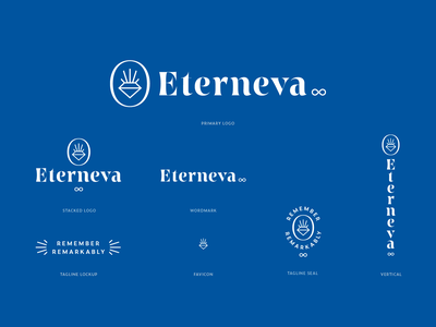 Eterneva Logo System and Illustrations monoline startup branding visual identity vector illustration logo