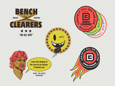 Bench Clearers Secondary Marks and Spot Illustrations branding colorful design sports hockey badges brand identity vector illustration
