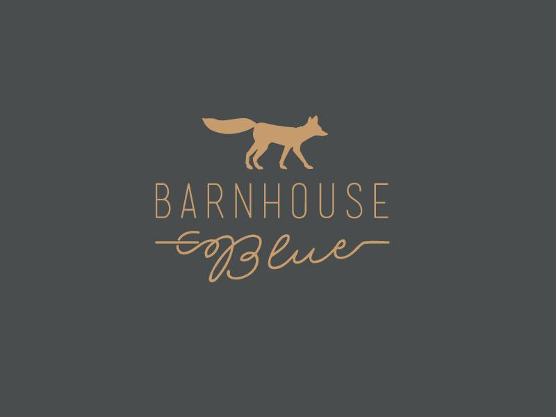 Barnhouse Blue Logo Concept 3 fox logo animal simple script swash brown branding