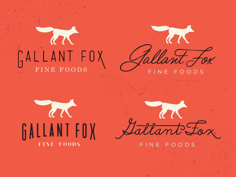 Gallant Fox Logo Concepts logo fox branding retro vintage swash script handwriting animal silhouette orange