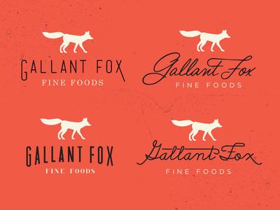 Gallant Fox Logo Concepts logo fox branding retro vintage swash script handwriting animal silhouette orange