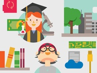 Flat Education Vector Illustrations