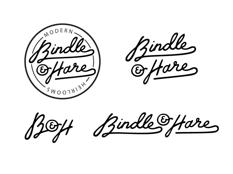 Bindle And Hare Logo Concept logo hare rabbit bunny retro vintage seal swash script ampersand classic modern