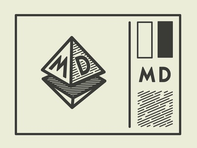MD Logo Concept logo pyramid triangle initials pattern engraved branding