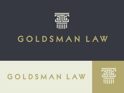 Goldsman Law Logo Concept logo branding icon law legal lawyer column modern minimal geometric