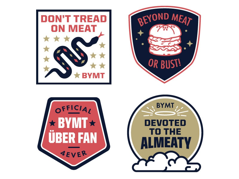 Beyond Meat Fan Badges badge patch seal emblem burger snake stars vector flat clouds