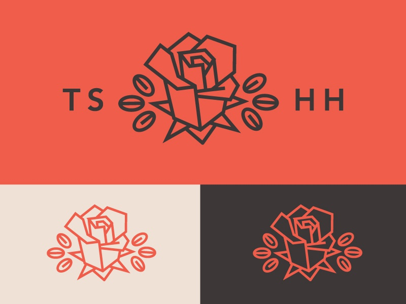 Rose Logo Emblem rose flower cocoa chocolate red modern minimal geometric logo icon branding