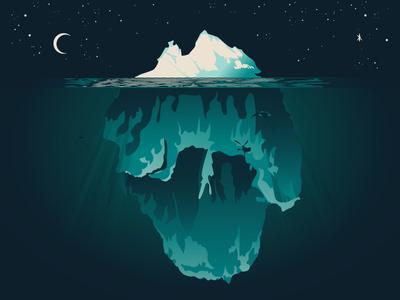 Midnight in the Garden of Snow and Ice vector illustration moon underwater water snow iceberg ice sky stars night