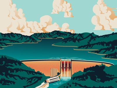 Dam It All forest moutains illustration vector clouds water nature dam