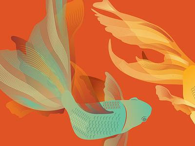 Koi Pattern Detail teal water animal illustration red fish koi pattern