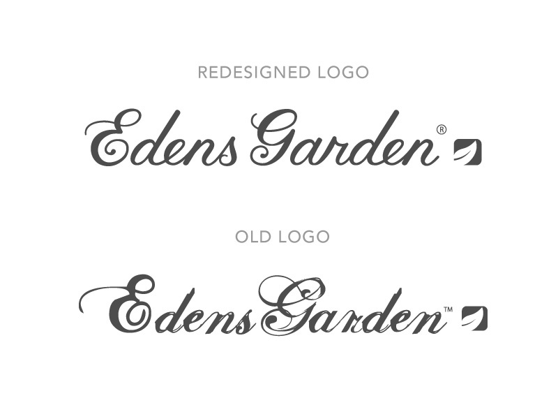 new vs old logo redesign for edens garden - Edens Garden