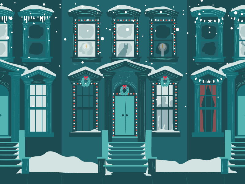 Brownstones in the Snow night building house home brownstone nyc quaint snow city urban illustration