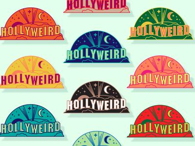 Hollyweird emblem patch colorful california la los angeles hollywood logo emblem icon seal