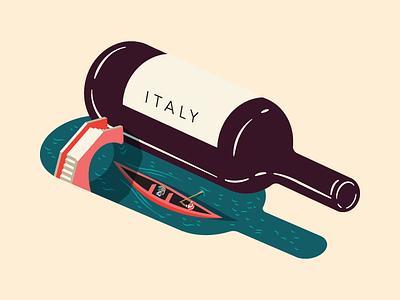 Wine Feature Italy - Illustration for Saute Magazine minimal bridge water gondola venice italy shadow bottle wine