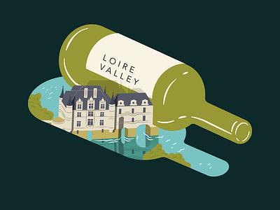 Wine Feature Loire Valley - Illustration for Saute Magazine magazine illustration river chateau shadow bottle wine castle france