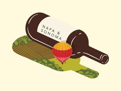 Wine Feature Illustration for Saute Magazine - Napa Sonoma alcohol food magazine illustration minimal hot air balloon farm sonoma wine napa