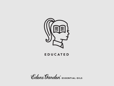 Edens Garden Essential Oil Value Icon: Educated profile face woman girl silhouette illustration icon knowledge book education educated essential oils