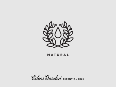 Edens Garden Essential Oil Value Icon: Natural icon illustration nature branch twig drop laurel wreath leaf essential oil organic natural
