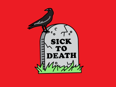 """""""Sick to Death"""" illustration from Flu Season Sticker Pack facebook graveyard dead crow flu cold sneeze cough sick ill death tombstone"""