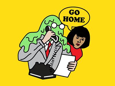 """Go home"" illustration for Facebook Flu Season Sticker Pack facebook people workplace business monster booger cold flu cough sneeze ill sick"