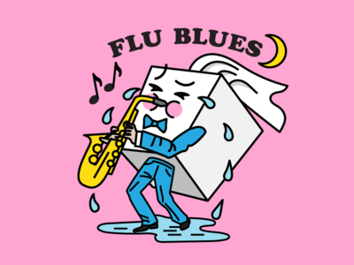 """Flu Blues"" illustration for Flu Season Facebook Sticker Pack sticker facebook character crying sad jazz saxophone sneeze cough tissue cold flu"