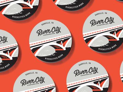 River City Coaster beer beverage food bridge script retro identity restaurant city river branding coaster